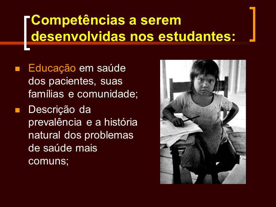 Competências a serem desenvolvidas nos estudantes: Educação em saúde dos pacientes, suas famílias e comunidade; Descrição da prevalência e a história