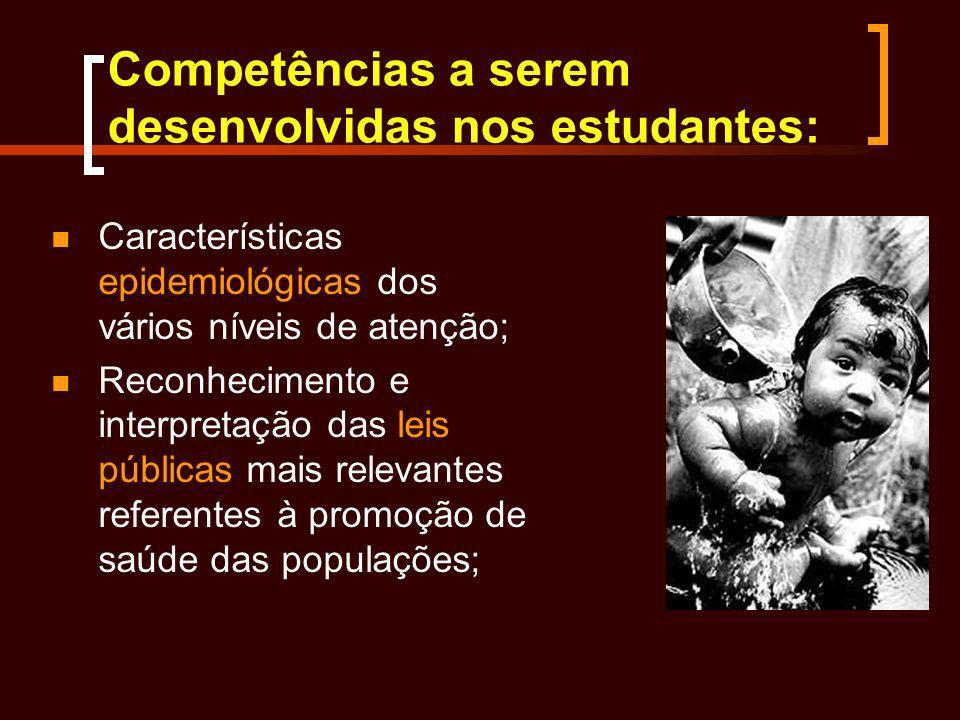 Competências a serem desenvolvidas nos estudantes: Características epidemiológicas dos vários níveis de atenção; Reconhecimento e interpretação das le