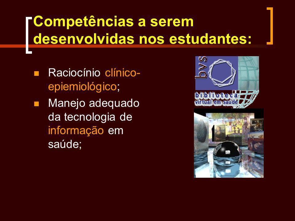 Competências a serem desenvolvidas nos estudantes: Raciocínio clínico- epiemiológico; Manejo adequado da tecnologia de informação em saúde;