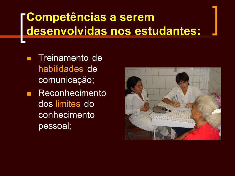 Competências a serem desenvolvidas nos estudantes: Treinamento de habilidades de comunicação; Reconhecimento dos limites do conhecimento pessoal;