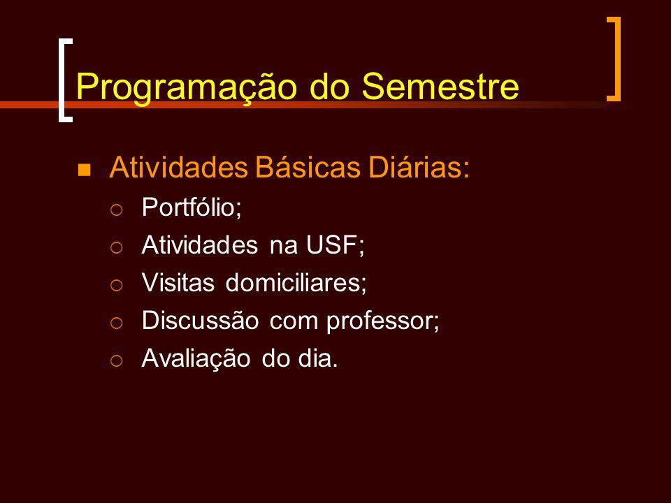 Programação do Semestre Atividades Básicas Diárias: Portfólio; Atividades na USF; Visitas domiciliares; Discussão com professor; Avaliação do dia.
