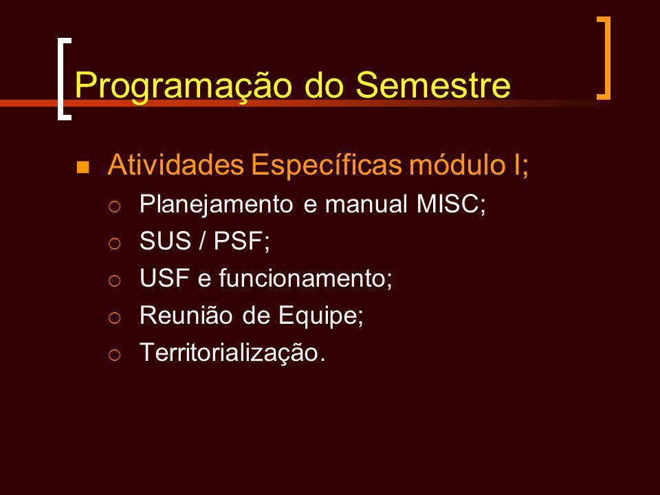 Programação do Semestre Atividades Específicas módulo I; Planejamento e manual MISC; SUS / PSF; USF e funcionamento; Reunião de Equipe; Territorializa