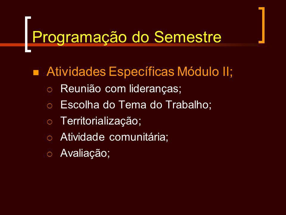 Programação do Semestre Atividades Específicas Módulo II; Reunião com lideranças; Escolha do Tema do Trabalho; Territorialização; Atividade comunitári