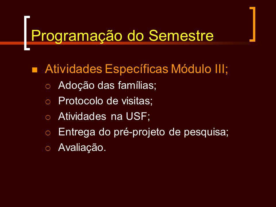 Programação do Semestre Atividades Específicas Módulo III; Adoção das famílias; Protocolo de visitas; Atividades na USF; Entrega do pré-projeto de pes
