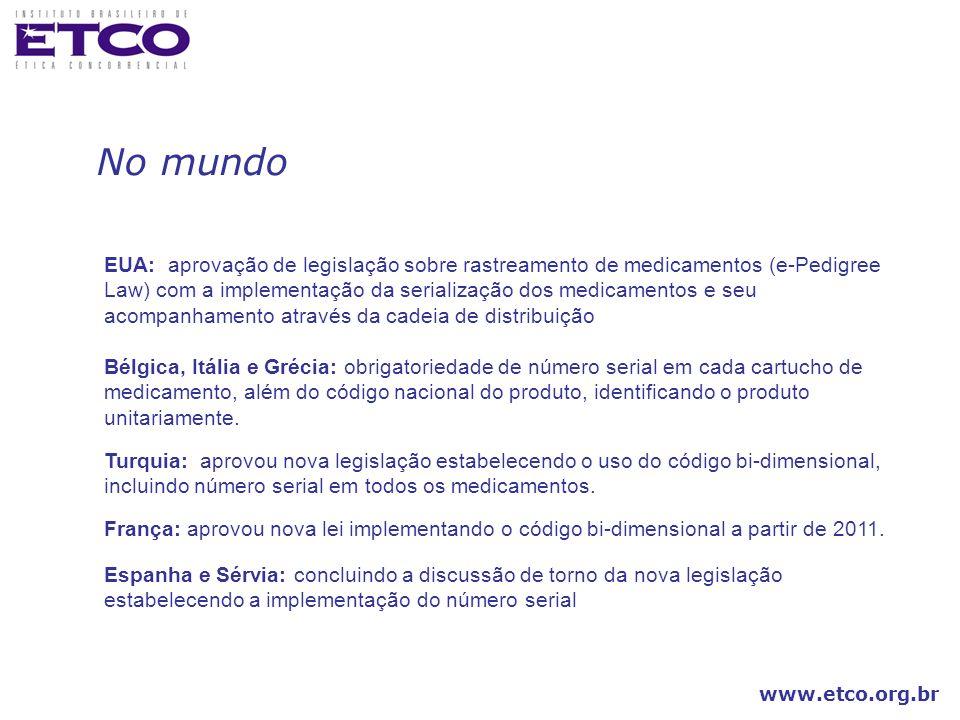 www.etco.org.br Bélgica, Itália e Grécia: obrigatoriedade de número serial em cada cartucho de medicamento, além do código nacional do produto, identi