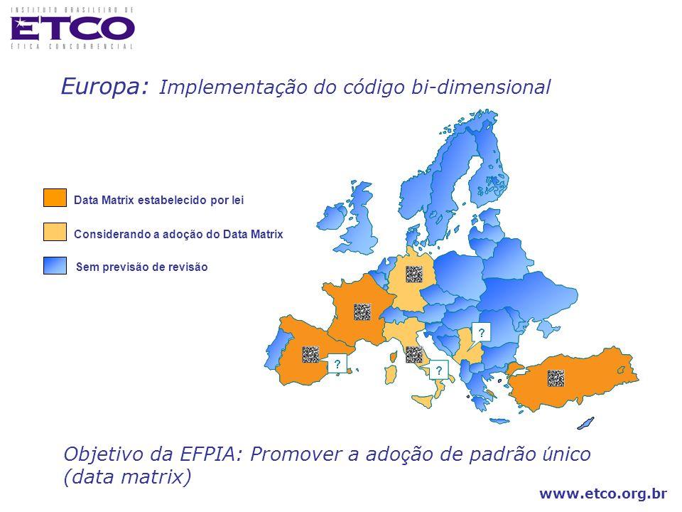 www.etco.org.br Objetivo da EFPIA: Promover a ado ç ão de padrão ú nico (data matrix) Considerando a adoção do Data Matrix Sem previsão de revisão Dat
