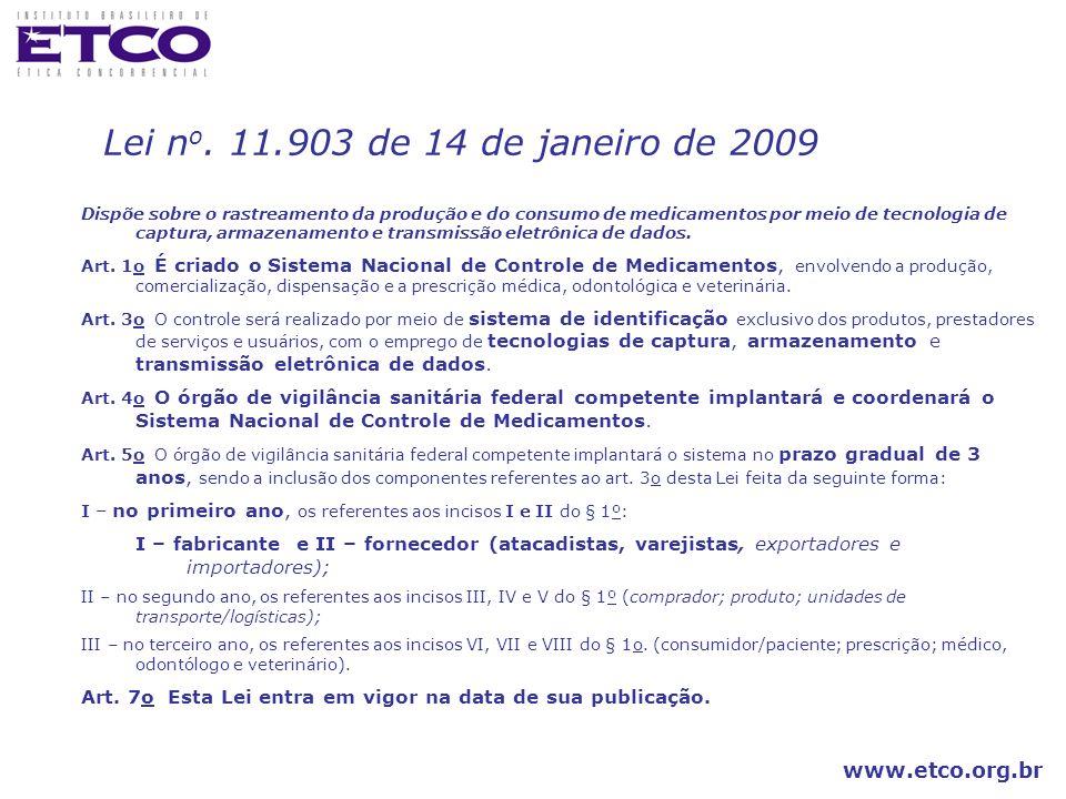 www.etco.org.br Dispõe sobre o rastreamento da produção e do consumo de medicamentos por meio de tecnologia de captura, armazenamento e transmissão el