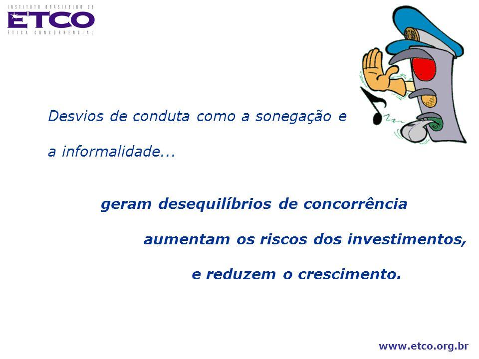 www.etco.org.br Desvios de conduta como a sonegação e a informalidade... geram desequilíbrios de concorrência aumentam os riscos dos investimentos, e