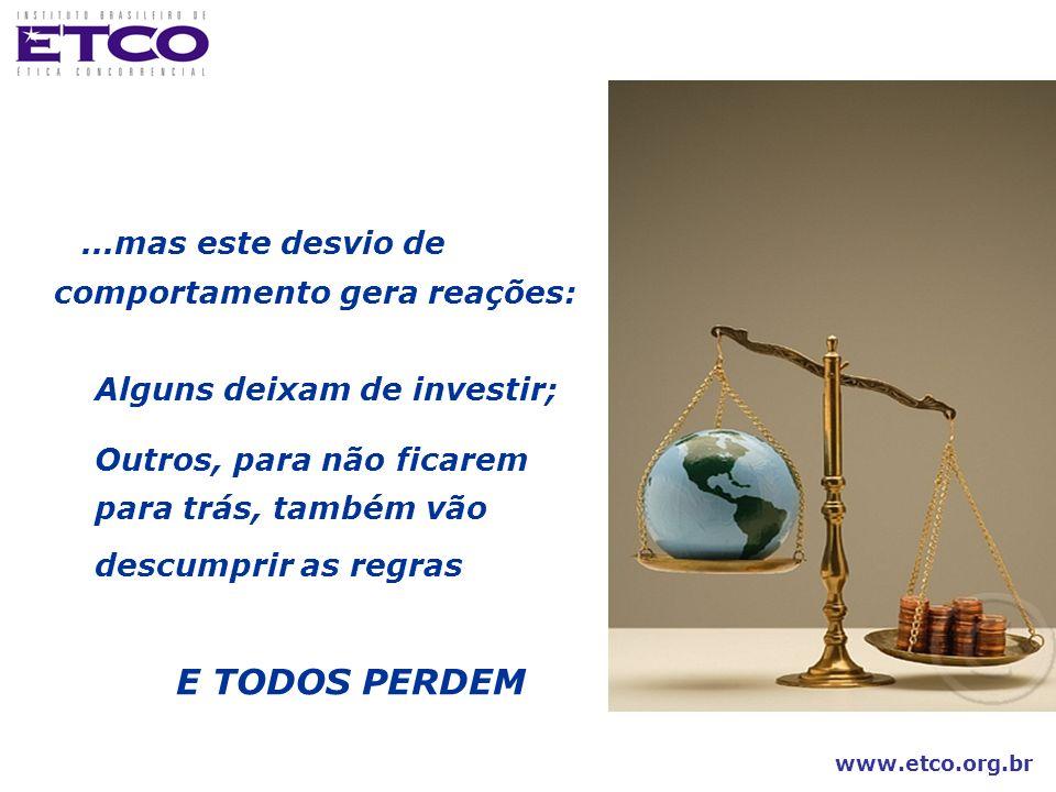www.etco.org.br...mas este desvio de comportamento gera reações: Alguns deixam de investir; Outros, para não ficarem para trás, também vão descumprir