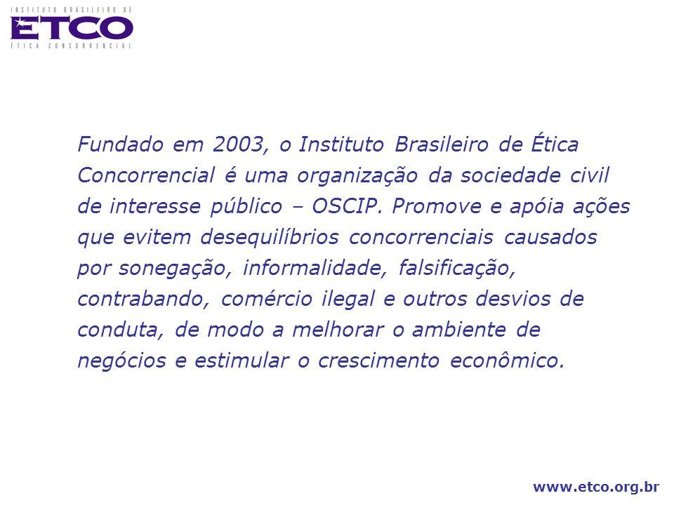 www.etco.org.br Fundado em 2003, o Instituto Brasileiro de Ética Concorrencial é uma organização da sociedade civil de interesse público – OSCIP. Prom