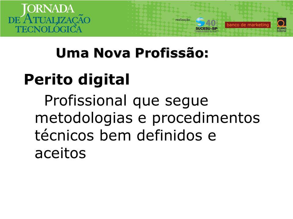 Uma Nova Profissão: Perito digital Profissional que segue metodologias e procedimentos técnicos bem definidos e aceitos