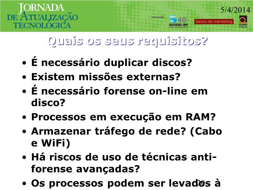 Quais os seus requisitos? É necessário duplicar discos? Existem missões externas? É necessário forense on-line em disco? Processos em execução em RAM?