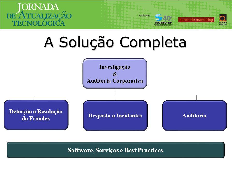 Investigação & Auditoria Corporativa Software, Serviços e Best Practices Detecção e Resolução de Fraudes Resposta a IncidentesAuditoria A Solução Comp