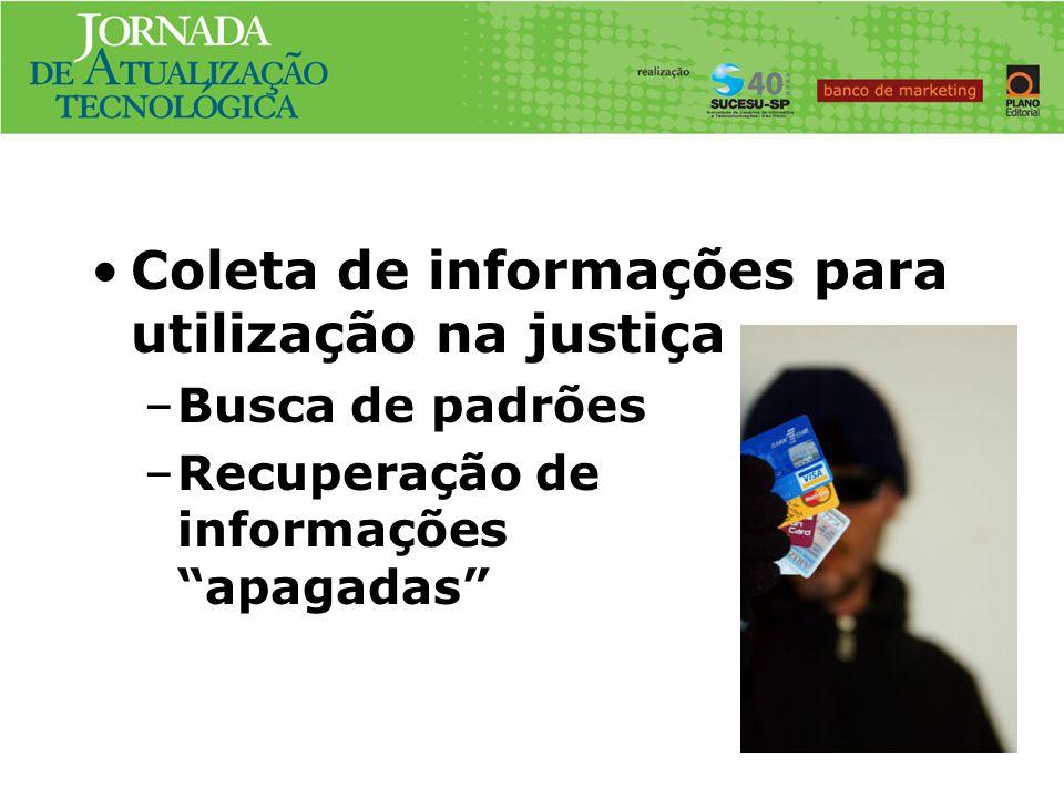 Caso No.#3 Coleta de informações para utilização na justiça –Busca de padrões –Recuperação de informações apagadas