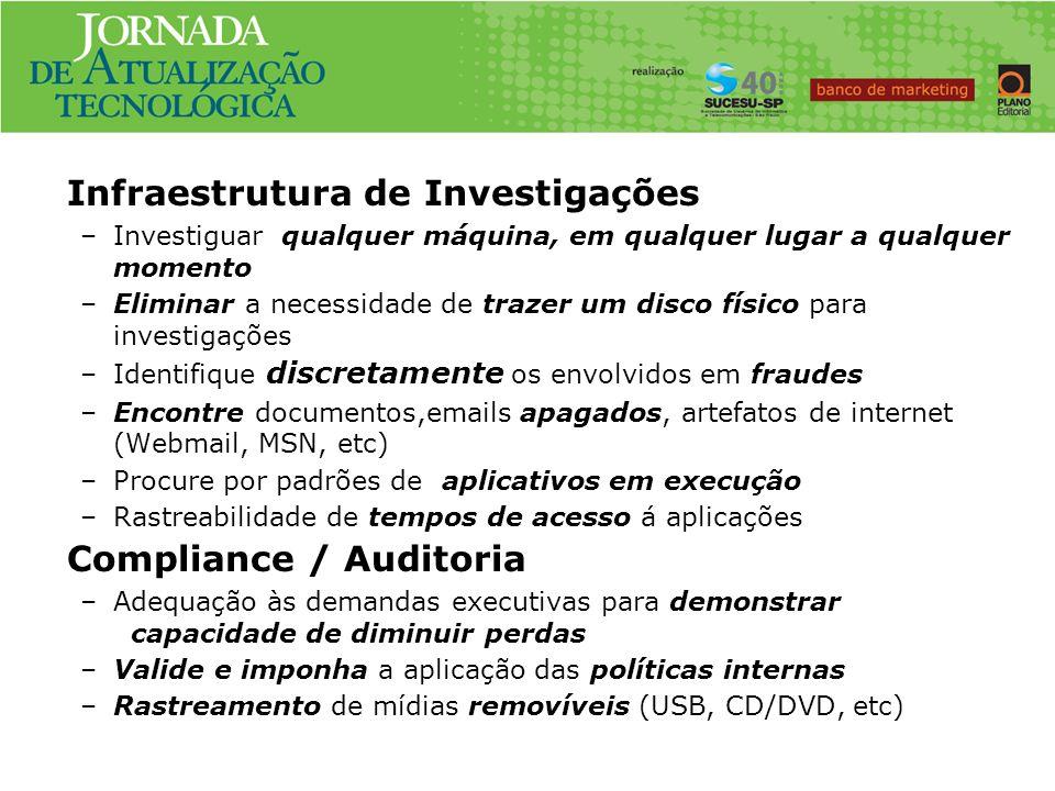 Infraestrutura de Investigações –Investiguar qualquer máquina, em qualquer lugar a qualquer momento –Eliminar a necessidade de trazer um disco físico