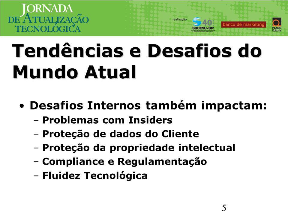 Desafios Internos também impactam: –Problemas com Insiders –Proteção de dados do Cliente –Proteção da propriedade intelectual –Compliance e Regulament