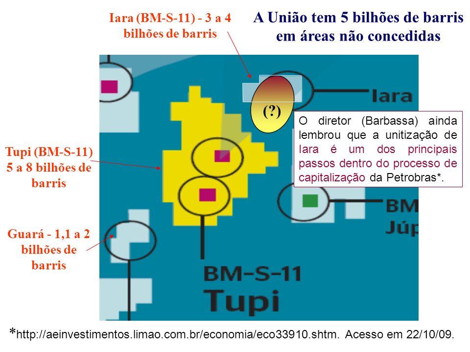 Iara (BM-S-11) - 3 a 4 bilhões de barris Tupi (BM-S-11) 5 a 8 bilhões de barris (?) A União tem 5 bilhões de barris em áreas não concedidas Guará - 1,