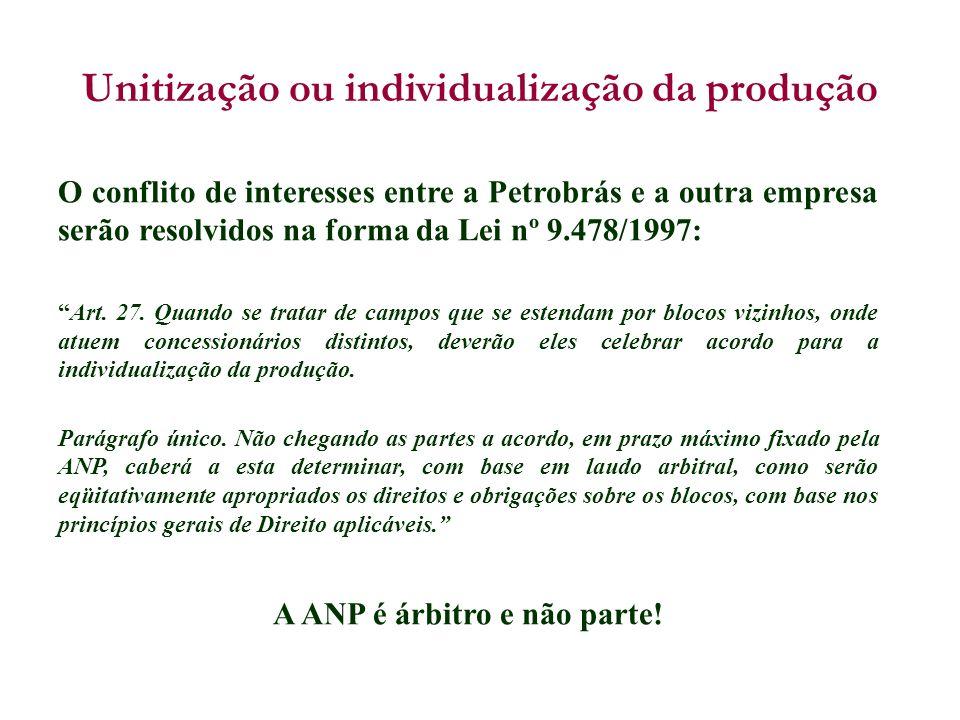 O conflito de interesses entre a Petrobrás e a outra empresa serão resolvidos na forma da Lei nº 9.478/1997: Art. 27. Quando se tratar de campos que s