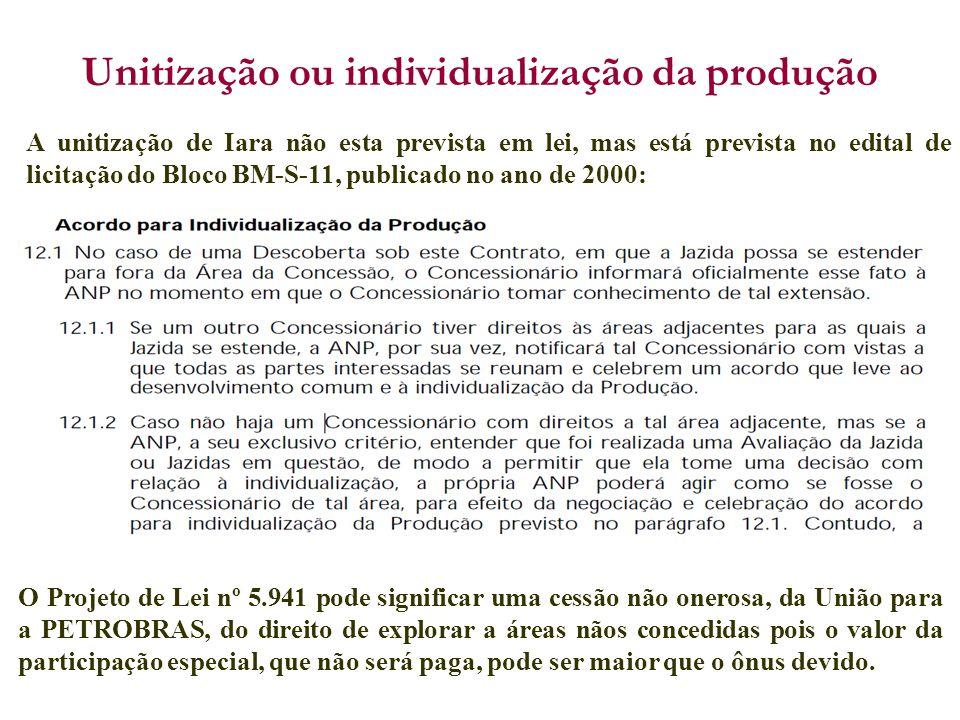A unitização de Iara não esta prevista em lei, mas está prevista no edital de licitação do Bloco BM-S-11, publicado no ano de 2000: Unitização ou indi