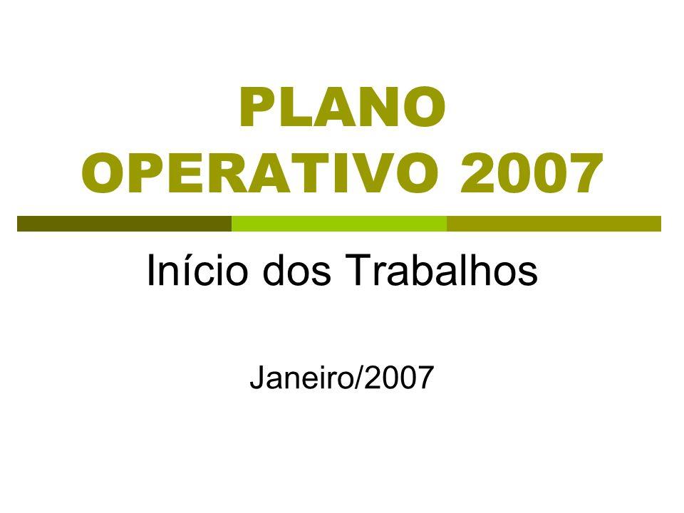 PLANO OPERATIVO 2007 Início dos Trabalhos Janeiro/2007