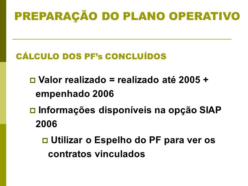 Valor realizado = realizado até 2005 + empenhado 2006 Informações disponíveis na opção SIAP 2006 Utilizar o Espelho do PF para ver os contratos vinculados CÁLCULO DOS PFs CONCLUÍDOS PREPARAÇÃO DO PLANO OPERATIVO