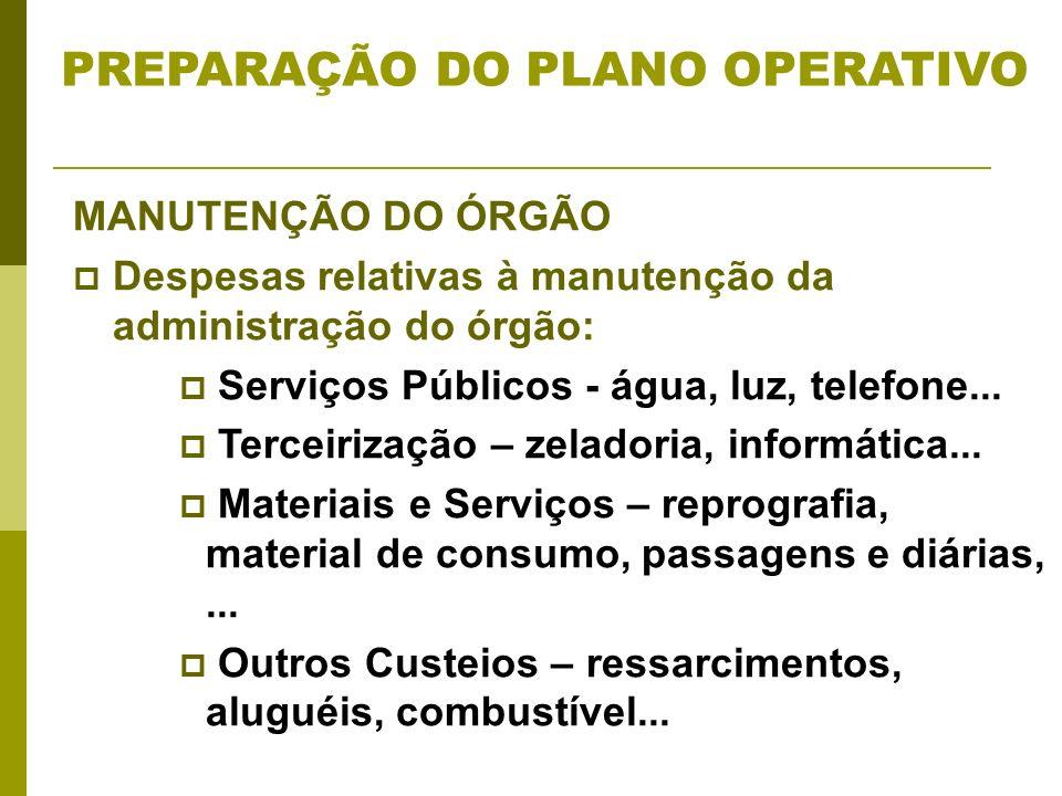 MANUTENÇÃO DO ÓRGÃO Despesas relativas à manutenção da administração do órgão: Serviços Públicos - água, luz, telefone... Terceirização – zeladoria, i