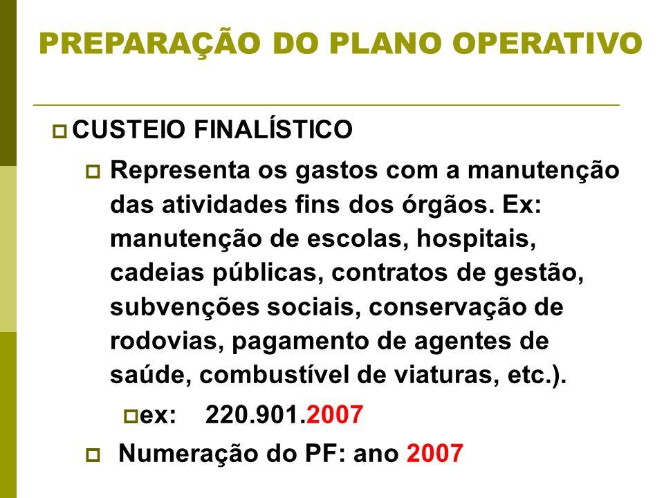 Numeração do PF: ano 2007 CUSTEIO FINALÍSTICO Representa os gastos com a manutenção das atividades fins dos órgãos.