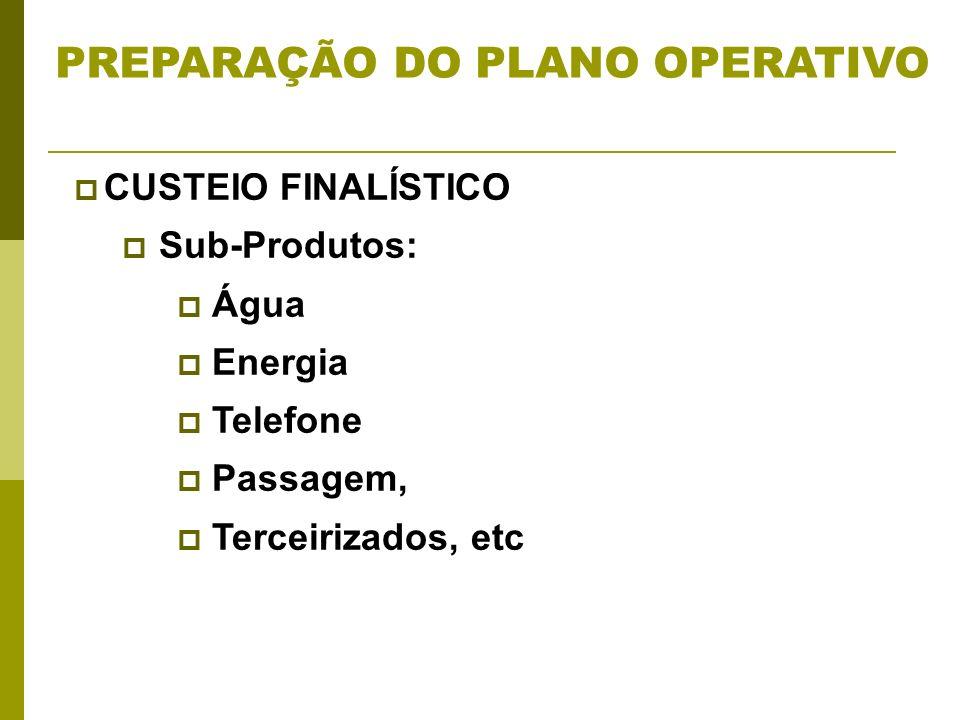 CUSTEIO FINALÍSTICO Sub-Produtos: Água Energia Telefone Passagem, Terceirizados, etc PREPARAÇÃO DO PLANO OPERATIVO