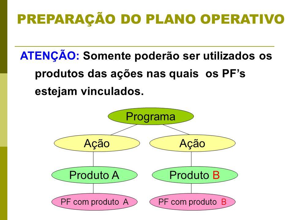 ATENÇÃO: Somente poderão ser utilizados os produtos das ações nas quais os PFs estejam vinculados. Programa Ação Produto AProduto B PF com produto APF