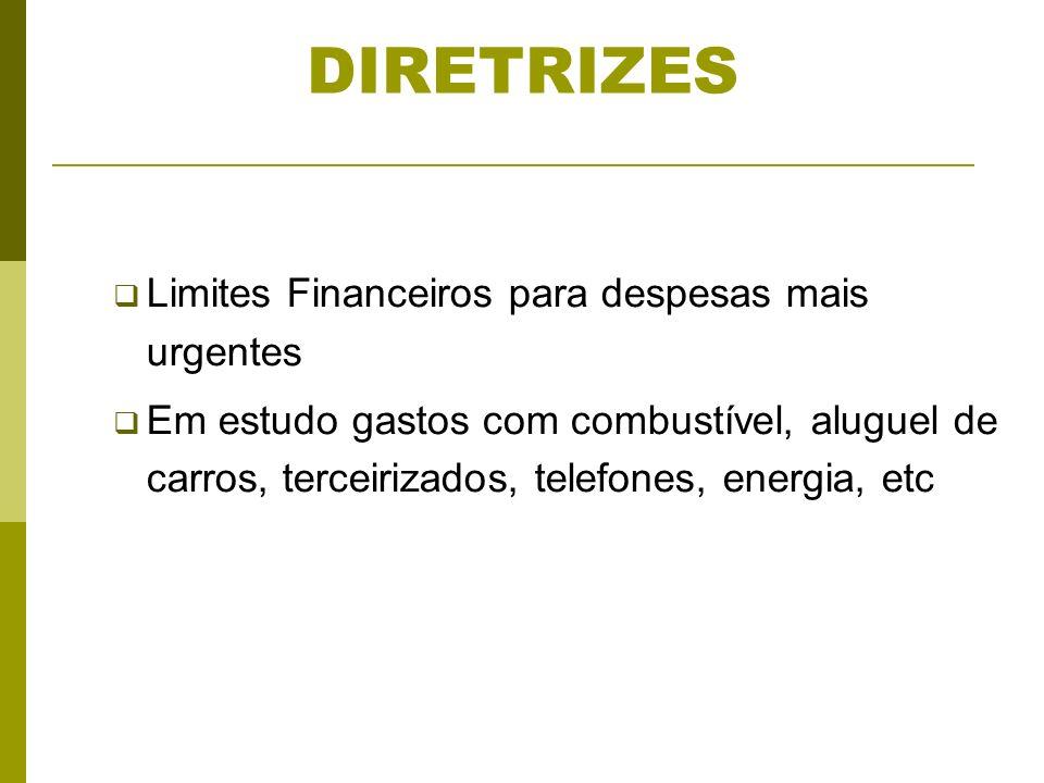 DIRETRIZES Limites Financeiros para despesas mais urgentes Em estudo gastos com combustível, aluguel de carros, terceirizados, telefones, energia, etc