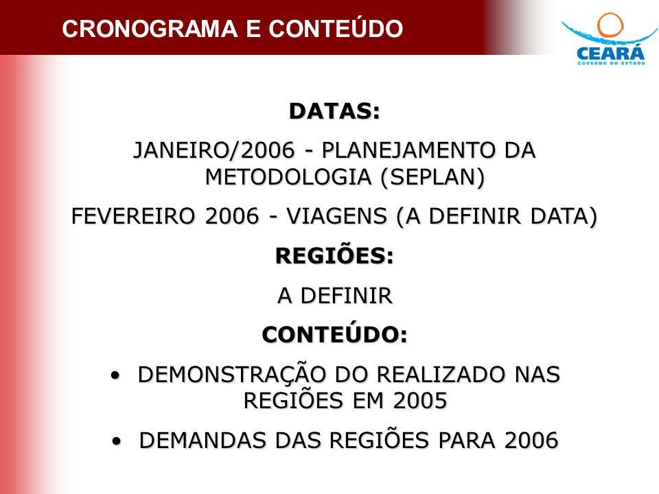 CRONOGRAMA E CONTEÚDO DATAS: JANEIRO/2006 - PLANEJAMENTO DA METODOLOGIA (SEPLAN) FEVEREIRO 2006 - VIAGENS (A DEFINIR DATA) REGIÕES: A DEFINIR CONTEÚDO: DEMONSTRAÇÃO DO REALIZADO NAS REGIÕES EM 2005 DEMONSTRAÇÃO DO REALIZADO NAS REGIÕES EM 2005 DEMANDAS DAS REGIÕES PARA 2006 DEMANDAS DAS REGIÕES PARA 2006