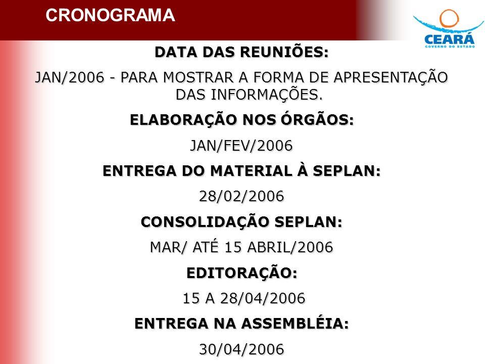 CRONOGRAMA DATA DAS REUNIÕES: JAN/2006 - PARA MOSTRAR A FORMA DE APRESENTAÇÃO DAS INFORMAÇÕES.