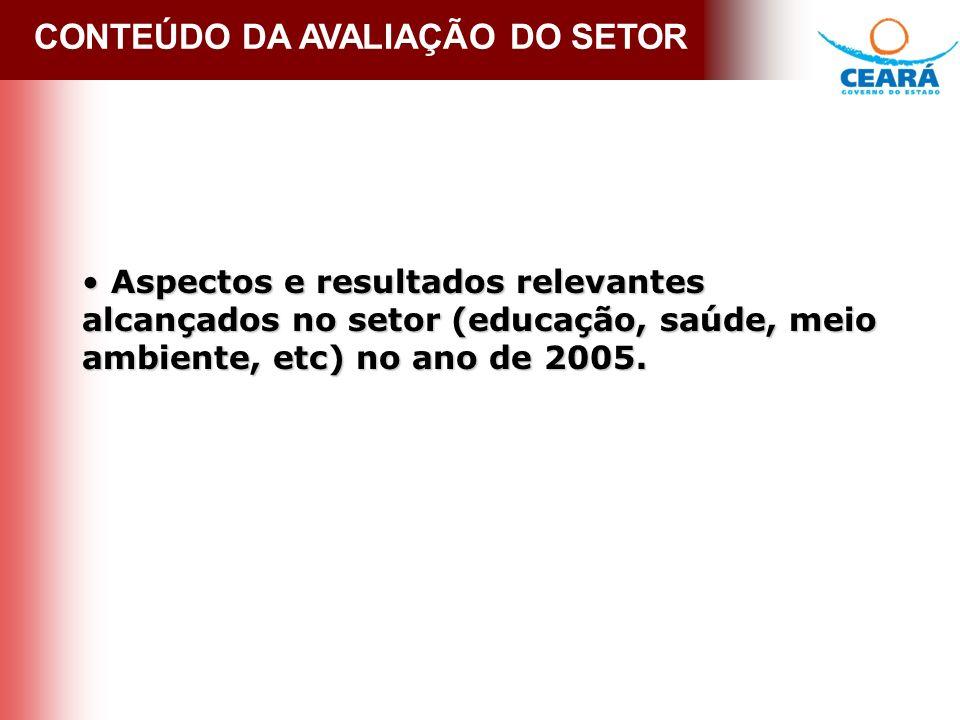 MARCO LEGAL - LEI Nº 13.423 CONTEÚDO DA AVALIAÇÃO DO SETOR Aspectos e resultados relevantes alcançados no setor (educação, saúde, meio ambiente, etc) no ano de 2005.