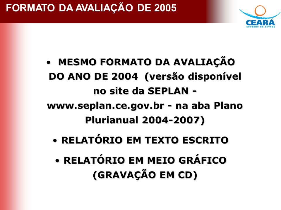 FORMATO DA AVALIAÇÃO 2005 FORMATO DA AVALIAÇÃO DE 2005 MESMO FORMATO DA AVALIAÇÃO DO ANO DE 2004 (versão disponível no site da SEPLAN - www.seplan.ce.gov.br - na aba Plano Plurianual 2004-2007) MESMO FORMATO DA AVALIAÇÃO DO ANO DE 2004 (versão disponível no site da SEPLAN - www.seplan.ce.gov.br - na aba Plano Plurianual 2004-2007) RELATÓRIO EM TEXTO ESCRITORELATÓRIO EM TEXTO ESCRITO RELATÓRIO EM MEIO GRÁFICO (GRAVAÇÃO EM CD)RELATÓRIO EM MEIO GRÁFICO (GRAVAÇÃO EM CD)