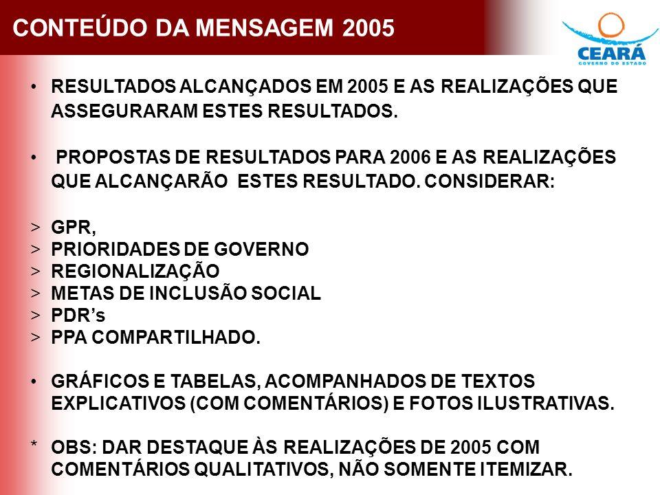 CONTEÚDO DA MENSAGEM 2005 RESULTADOS ALCANÇADOS EM 2005 E AS REALIZAÇÕES QUE ASSEGURARAM ESTES RESULTADOS.