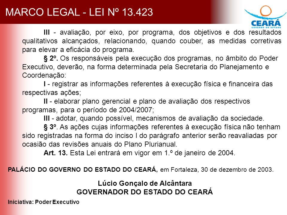 MARCO LEGAL - LEI Nº 13.423 III - avaliação, por eixo, por programa, dos objetivos e dos resultados qualitativos alcançados, relacionando, quando couber, as medidas corretivas para elevar a eficácia do programa.