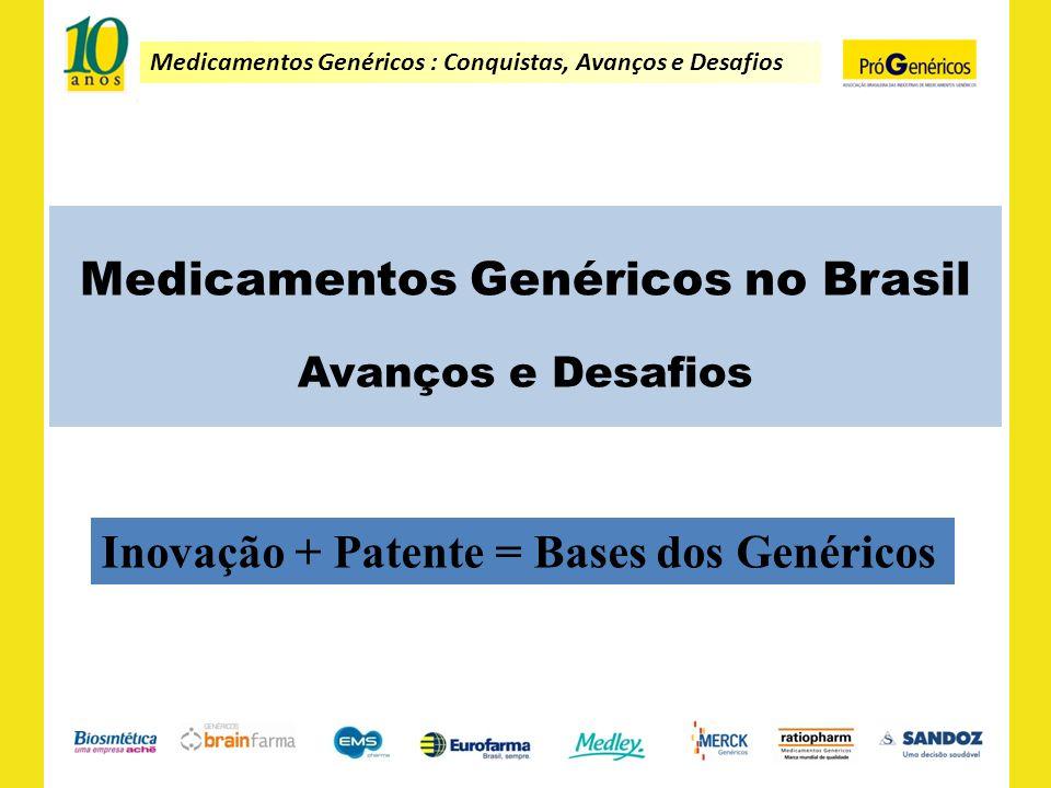 Medicamentos Genéricos : Conquistas, Avanços e Desafios Medicamentos Genéricos no Brasil Avanços e Desafios Inovação + Patente = Bases dos Genéricos