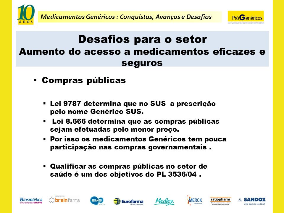 Medicamentos Genéricos : Conquistas, Avanços e Desafios Desafios para o setor Aumento do acesso a medicamentos eficazes e seguros Compras públicas Lei