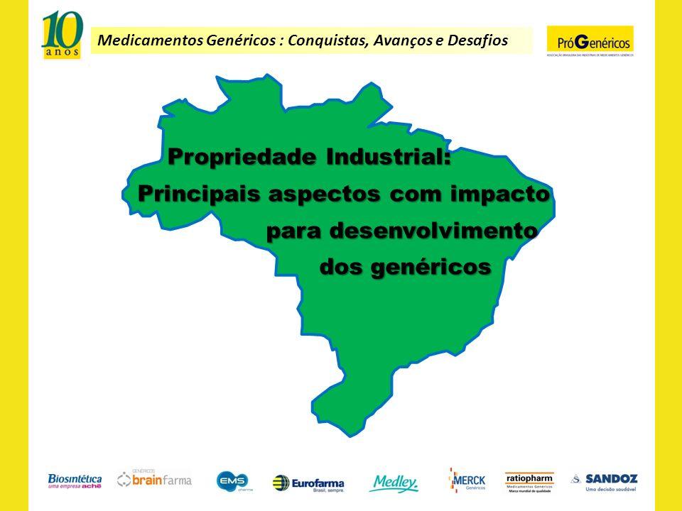 Medicamentos Genéricos : Conquistas, Avanços e Desafios Propriedade Industrial: Principais aspectos com impacto Principais aspectos com impacto para d
