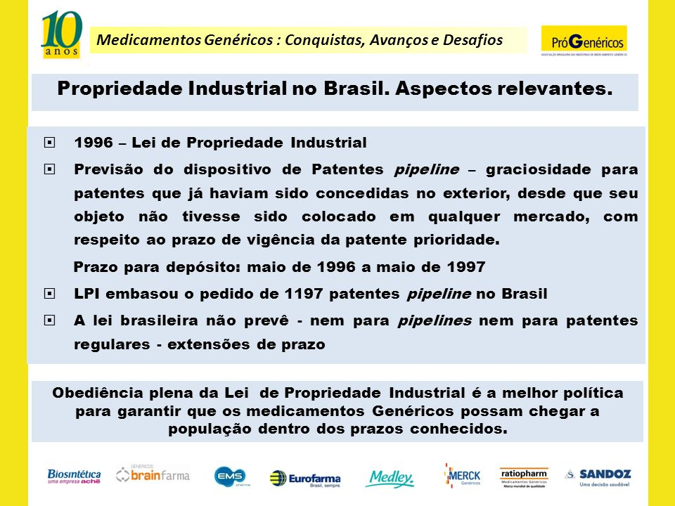 Medicamentos Genéricos : Conquistas, Avanços e Desafios Propriedade Industrial no Brasil. Aspectos relevantes. 1996 – Lei de Propriedade Industrial Pr