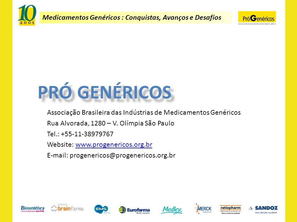 Medicamentos Genéricos : Conquistas, Avanços e Desafios Associação Brasileira das Indústrias de Medicamentos Genéricos Rua Alvorada, 1280 – V. Olímpia