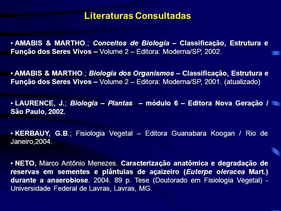 Literaturas Consultadas AMABIS & MARTHO.; Conceitos de Biologia – Classificação, Estrutura e Função dos Seres Vivos – Volume 2 – Editora: Moderna/SP,