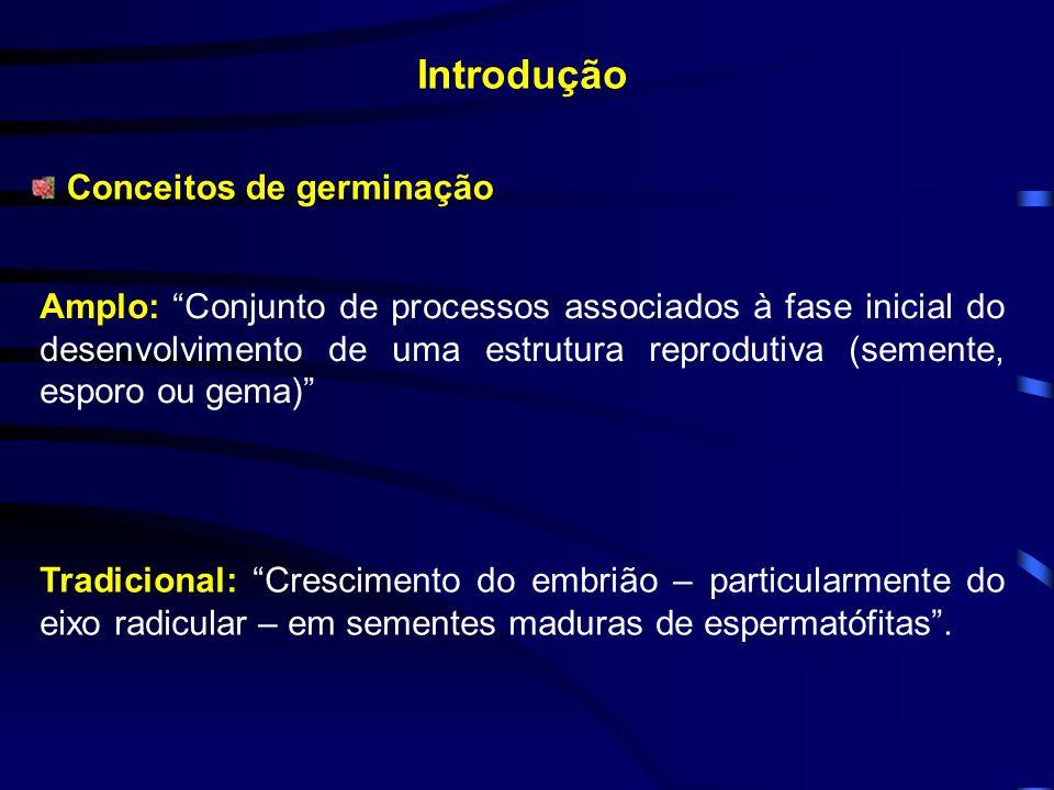 Introdução Conceitos de germinação Amplo: Conjunto de processos associados à fase inicial do desenvolvimento de uma estrutura reprodutiva (semente, es