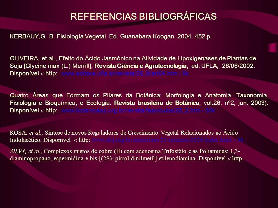 REFERENCIAS BIBLIOGRÁFICAS KERBAUY,G. B. Fisiología Vegetal. Ed. Guanabara Koogan. 2004. 452 p. OLIVEIRA, et al., Efeito do Ácido Jasmônico na Ativida