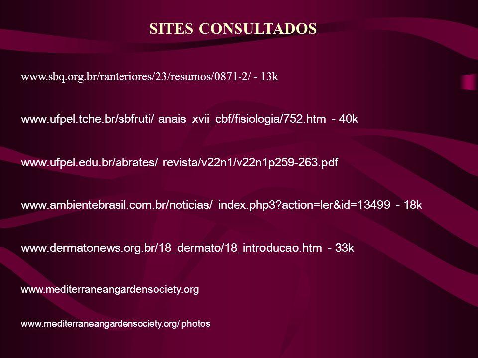 SITES CONSULTADOS www.sbq.org.br/ranteriores/23/resumos/0871-2/ - 13k www.ufpel.tche.br/sbfruti/ anais_xvii_cbf/fisiologia/752.htm - 40k www.ufpel.edu