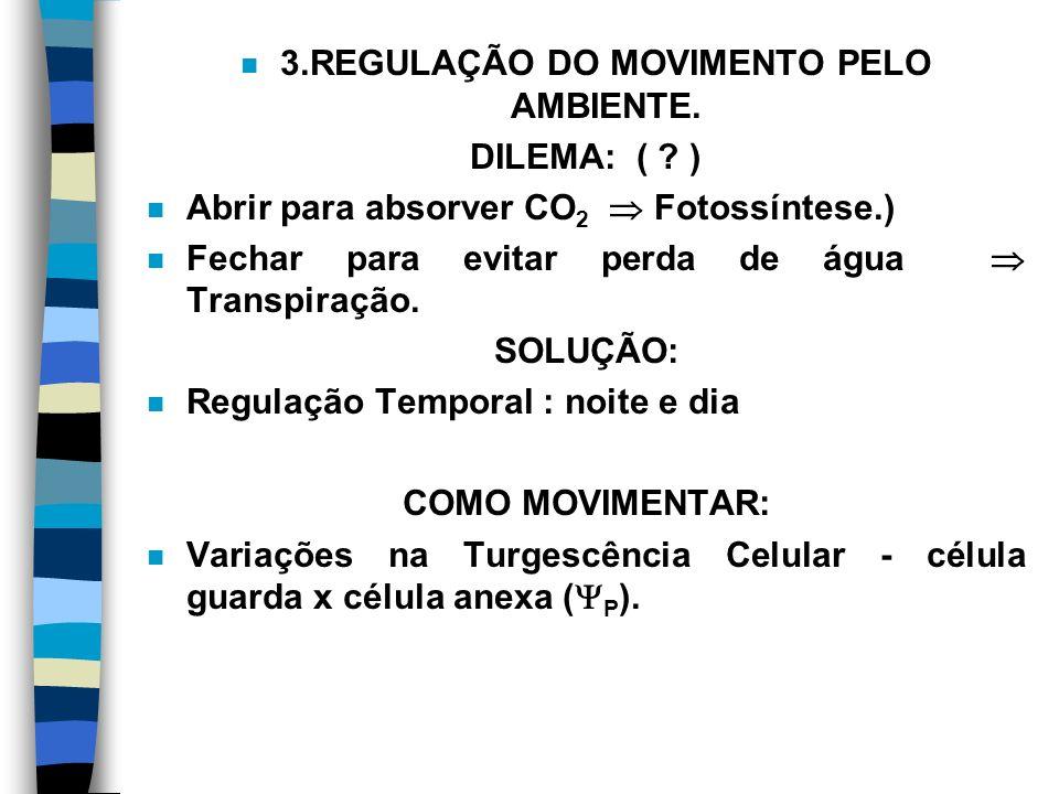 n 3.REGULAÇÃO DO MOVIMENTO PELO AMBIENTE.DILEMA: ( .