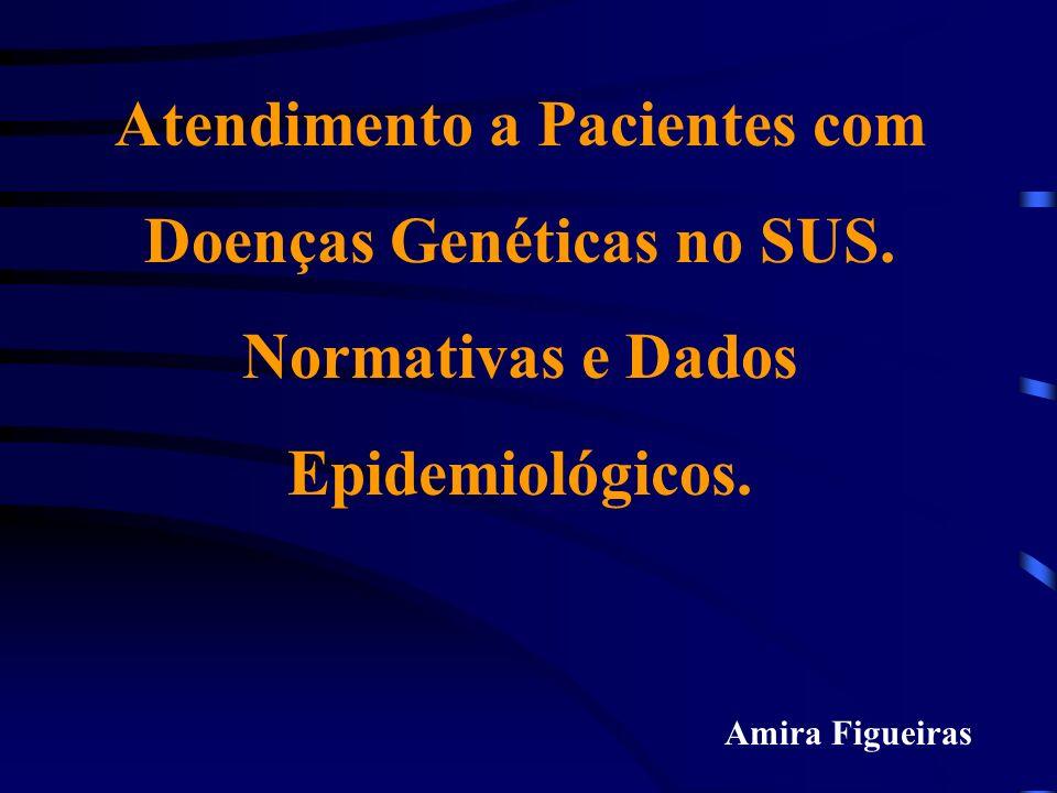 Felix, T; Giugliani, R, 1997 Epidemiologia das Anomalias Congênitas CausaFreqüência (%) Genéticas15 - 25 Cromossômica 10 - 15 Gen único 2 - 10 Multifatoriais 20 - 25 Ambientais8 - 12 Doença materna 6 - 8 Uterina-placentária 2 - 3 Drogas e químicos 0,5 - 1 Gemelaridade0,5 - 1 Desconhecida40 - 60