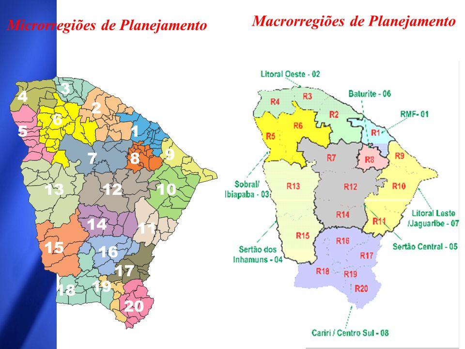 1 2 3 4 9 5 6 78 101213 15 14 11 17 18 19 20 16 Macrorregiões de Planejamento Microrregiões de Planejamento