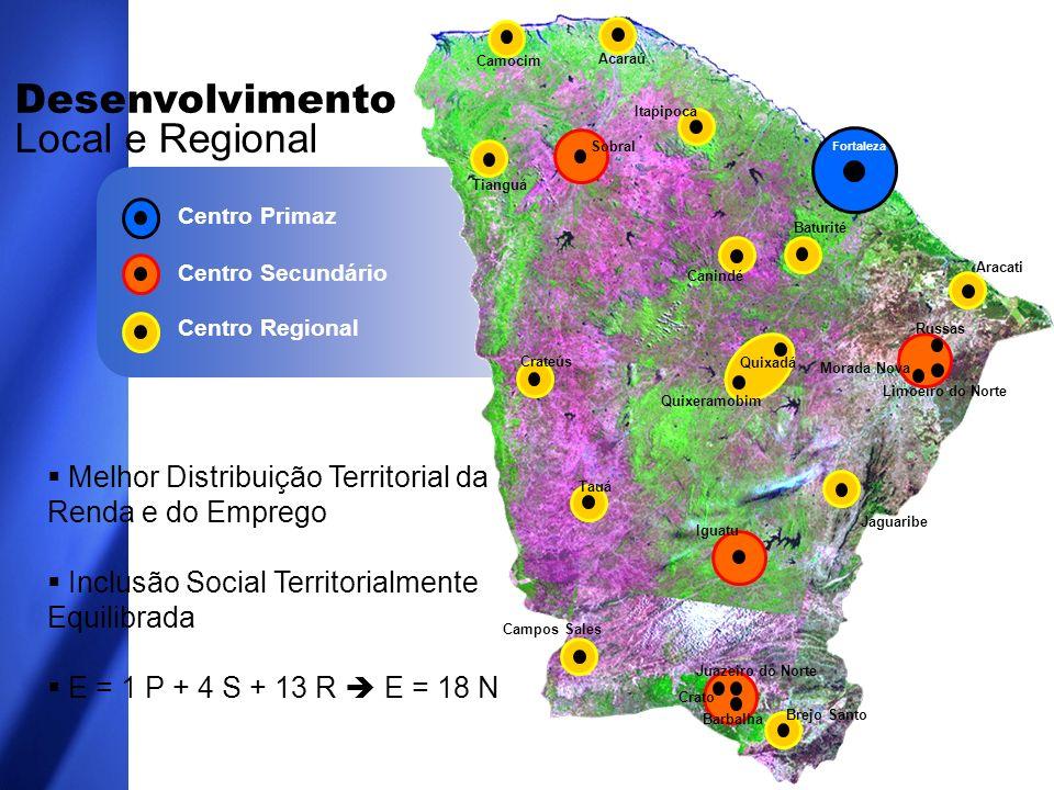 MODELO DE DESENVOLVIMENTO REGIONAL DA SDLR: INDICADORES: TAMANHO DA POPULAÇÃO DO MUNICÍPIO, ONDE SE SITUAM OS CENTROS.