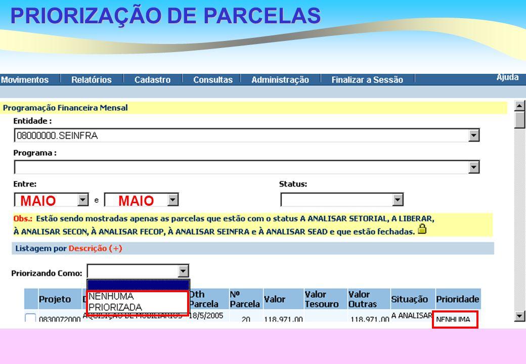 PRIORIZAÇÃO DE PARCELAS MAIO